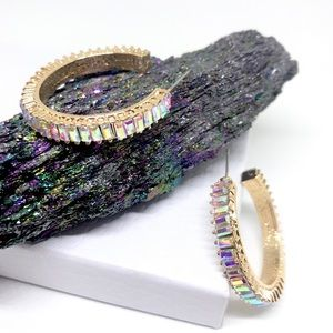 ANTHRO Iridescent Rhinestone Gold Hoop Earrings